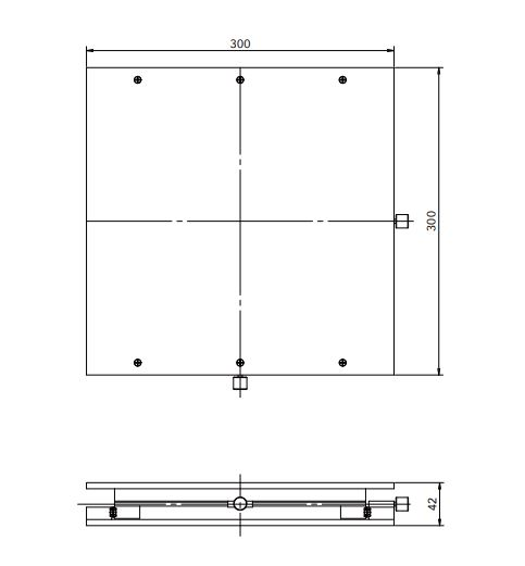 #55-620, 200mm Travel, X-Y Positioning Table (Units: mm)